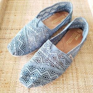 TOMS Blue Crochet Lace Size 8
